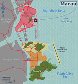 Large districts map of Macau.