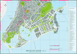 Large hotels and casinos map of central part of Macau.