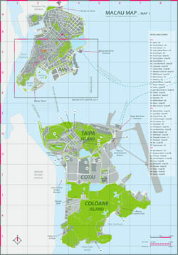 Large hotels and casinos map of Macau.