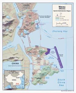 Large political map of Macau with relief and roads - 2008.