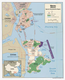 Large political map of Macau with roads - 2008.