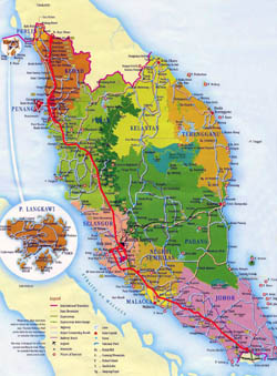 Detailed tourist and administrative map of West Malaysia with roads, cities and airports.