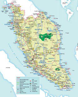 Detailed tourist map of West Malaysia with roads, cities and airports.