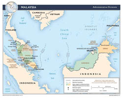 Large detailed administrative divisions map of Malaysia with major cities - 2015.