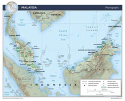 Large detailed physiography map of Malaysia - 2015.