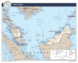 Large detailed political map of Malaysia with roads, major cities and airports - 2015.