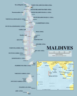 Detailed political map of Maldives.