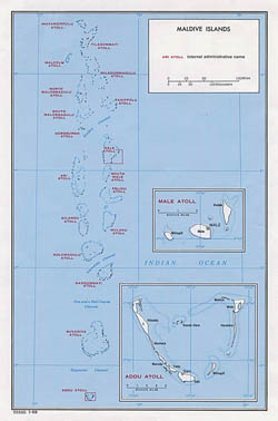 Large administrative map of Maldives - 1968.