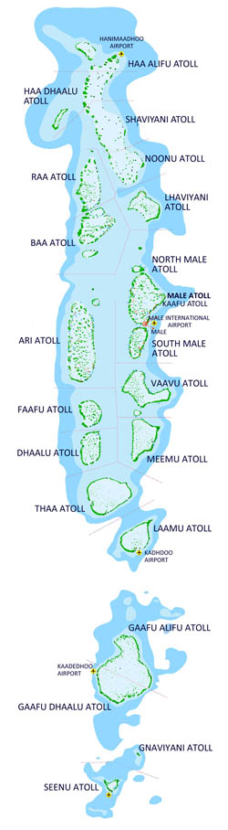 Large detailed map of Maldives.