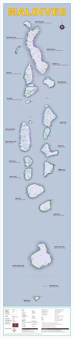 Large detailed political map of Maldives.