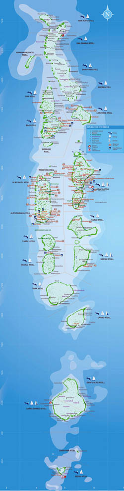 Large map of Maldives with atolls, resorts and activities details.