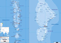 Large physical map of Maldives with airports.