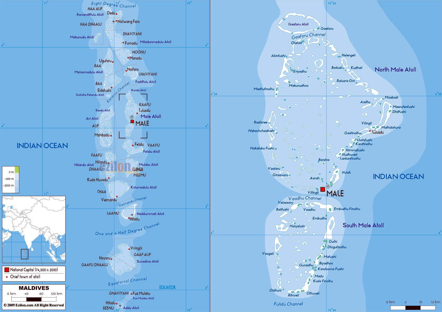 Maps of Maldives Detailed map of Maldives in English Tourist
