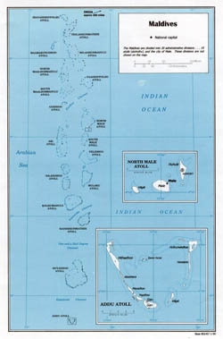 Large political map of Maldives - 1999.