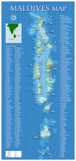Large tourist map of Maldives.