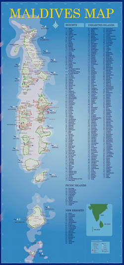 Large tourist map of Maldives with all resorts.