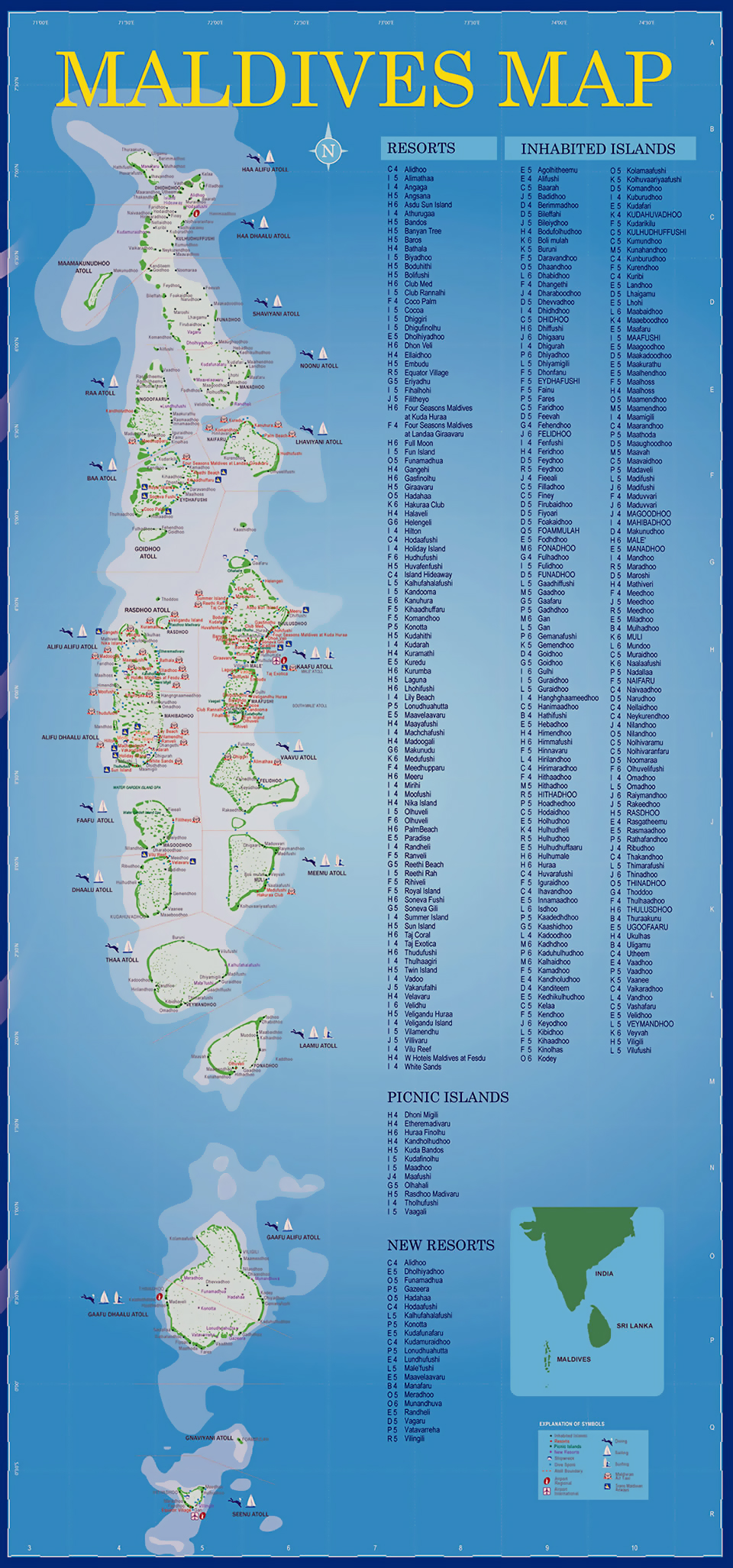 Large Tourist Map Of Maldives With All Resorts