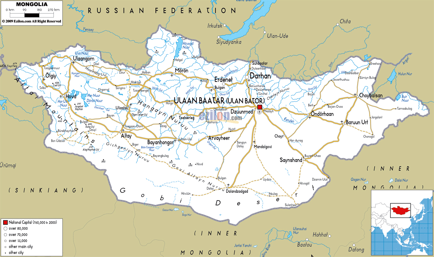 Maps of mongolia detailed map of mongolia in english tourist map large road map of mongolia with cities and airports gumiabroncs Gallery