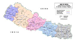 Detailed administrative divisions map of Nepal.
