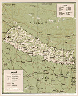 Detailed political and administrative map of Nepal with relief, roads and major cities - 1990.