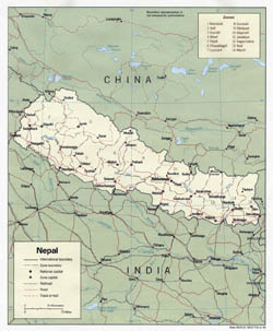 Detailed political and administrative map of Nepal with roads and major cities - 1990.