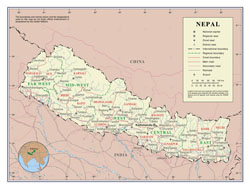 Large detailed political and administrative map of Nepal with roads, cities and airports.