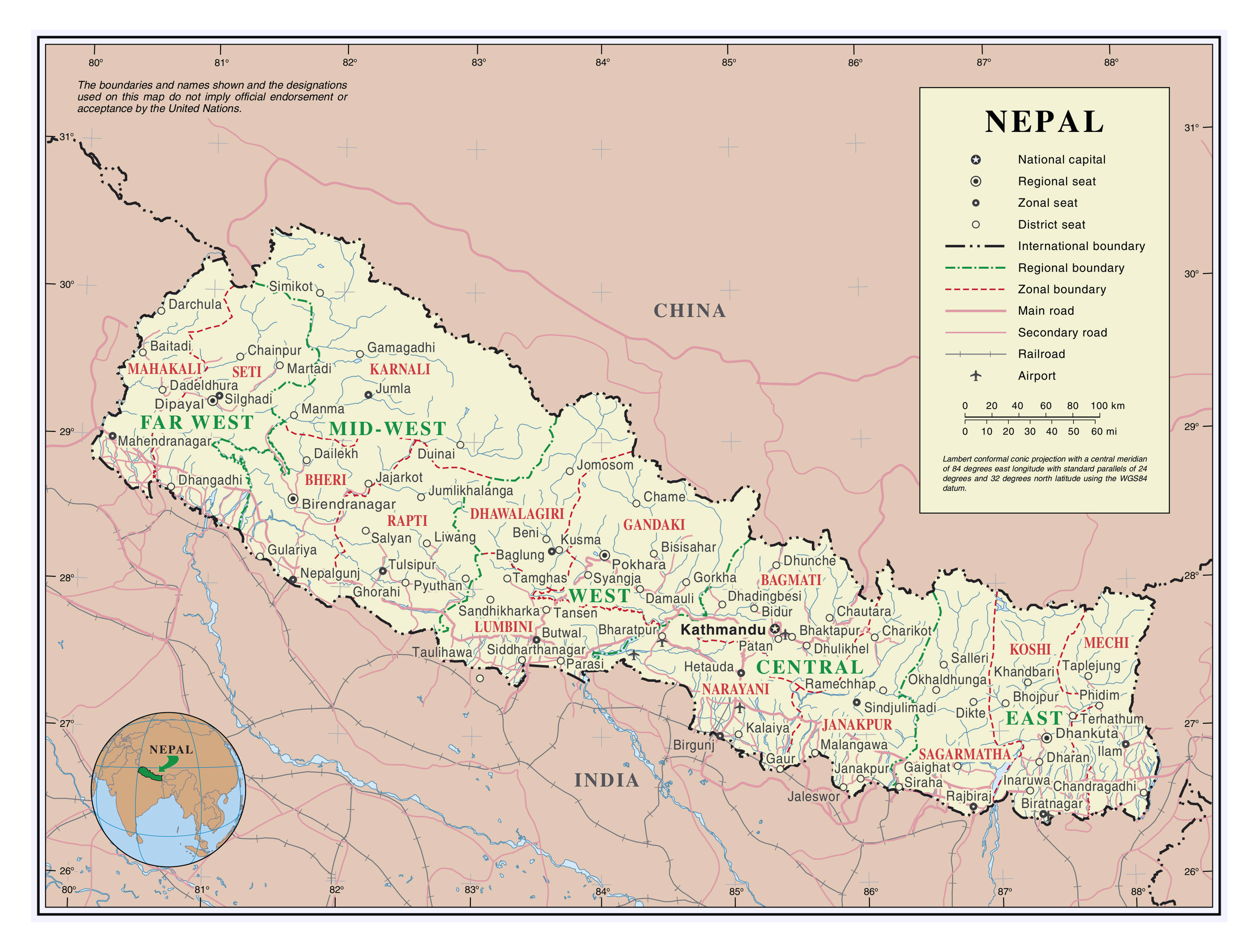 large detailed political and administrative map of nepal with roads cities and airports