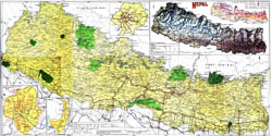 Large detailed topographical map of Nepal with roads and cities.
