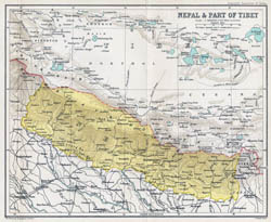 Large old map of Nepal - 1907-1909.