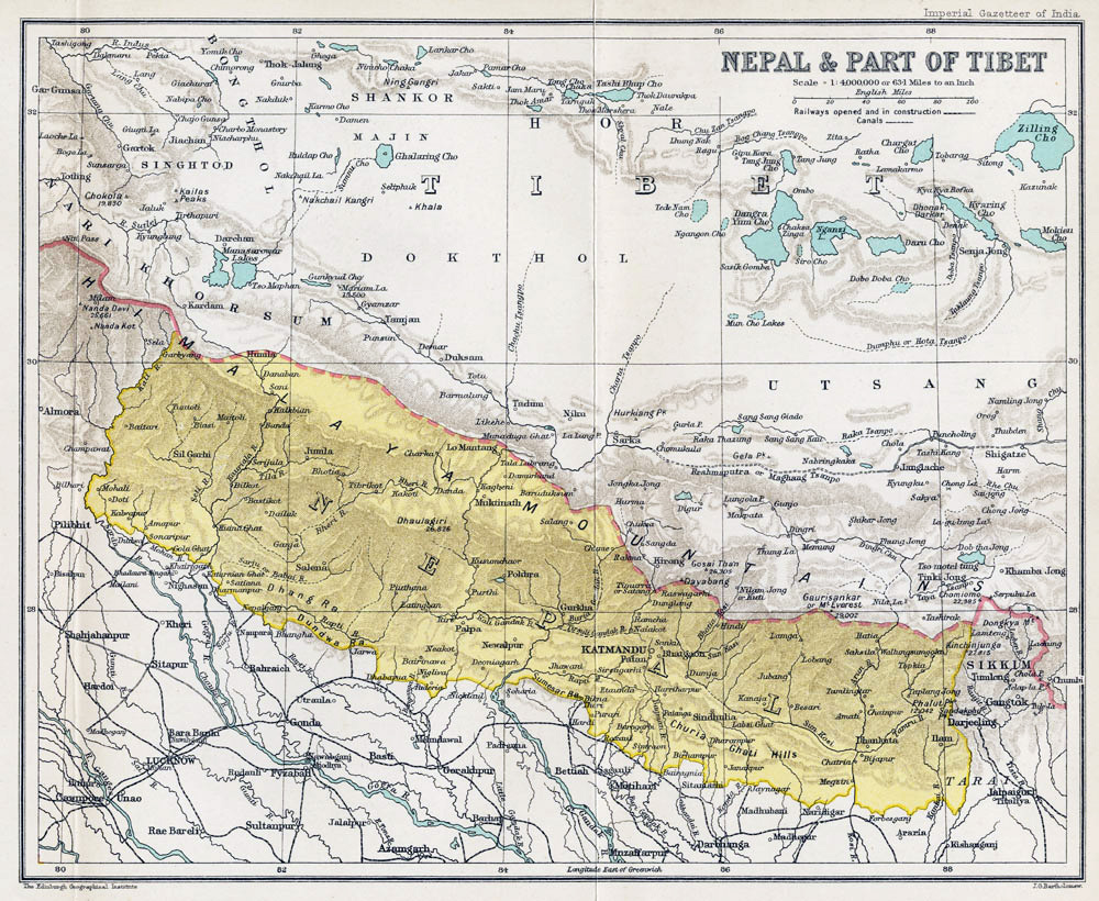 Maps of nepal detailed map of nepal in english tourist map of large old map of nepal 1907 1909 gumiabroncs Gallery