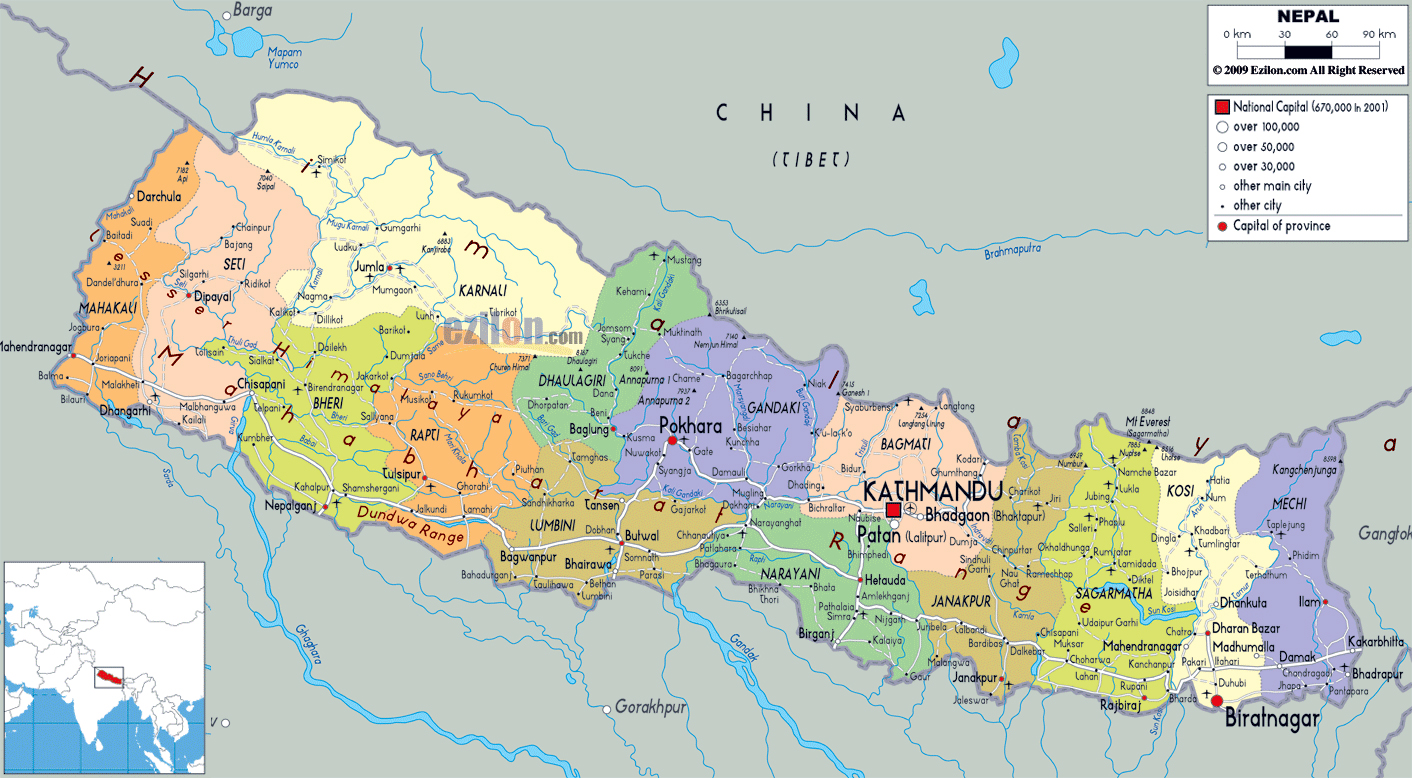 Maps of nepal detailed map of nepal in english tourist map of large political and administrative map of nepal with roads cities and airports gumiabroncs Image collections