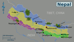 Large regions map of Nepal.