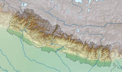 Large relief map of Nepal.