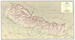 Large scale detailed political map of Nepal with relief, roads, cities and airports - 1968.