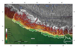 Large topographical map of Nepal.