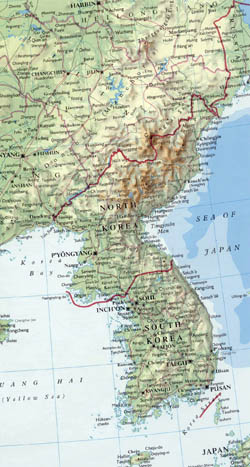 Detailed map of Korean Peninsula with relief, roads and major cities.