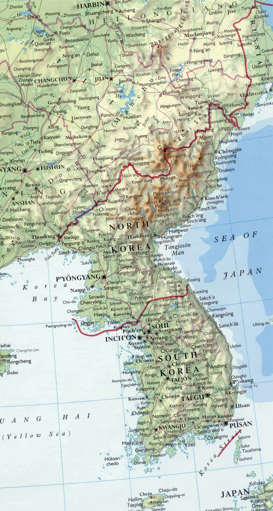 Maps of north korea dprk detailed map of north korea in detailed map of korean peninsula with relief roads and major cities gumiabroncs Gallery