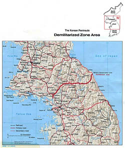 Detailed map of the Korean Peninsula Demilitarized Zone Area with relief - 1978.