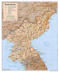 Detailed political and administrative map of North Korea with relief, roads and cities - 1996.
