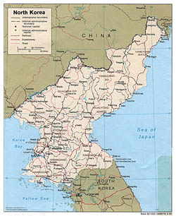 Detailed political and administrative map of North Korea with roads and cities - 1989.