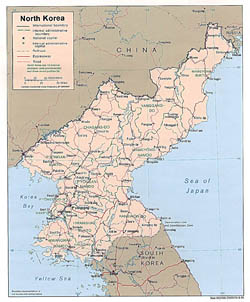 Detailed political and administrative map of North Korea with roads and cities - 1996.