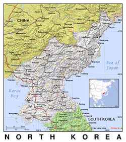 Detailed political map of North Korea with relief.
