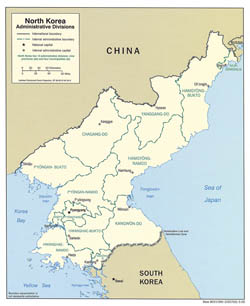 Large administrative divisions map of North Korea - 2005.
