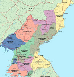 Large administrative map of North Korea.