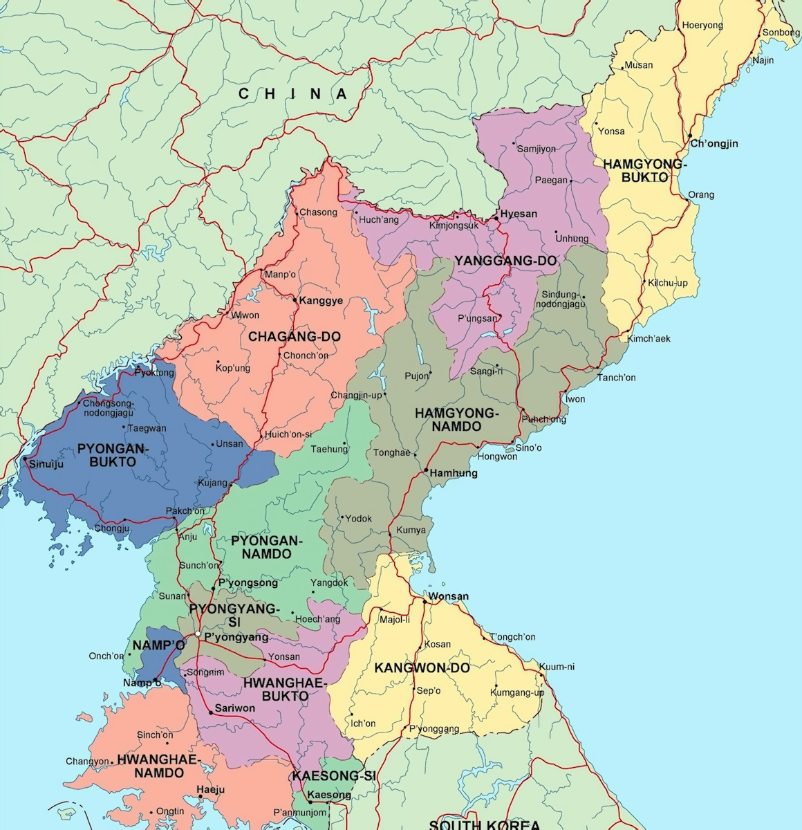 Maps of north korea dprk detailed map of north korea in english large administrative map of north korea gumiabroncs Choice Image