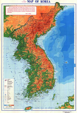 Large detailed physical map of Korean Peninsula with roads and cities.