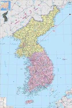 Large detailed political map of Korea.