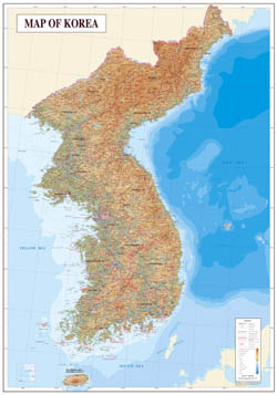 Large detailed topography and geology map of Korea.