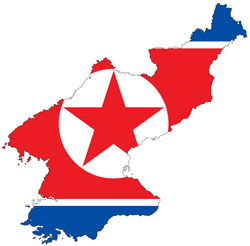 Large flag map of North Korea.