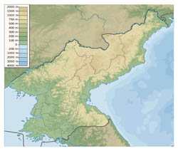 Large physical map of North Korea.
